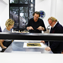 Printer Gunnar Holmgren, Queen Sonja, Kjell Nupen and Ørnulf Opdahl working on the project. Published 25.06 2011. Handout picture from the Royal Court. For editorial use only - not for sale. Photo: Rolf M. Aagaard / the Royal Court.